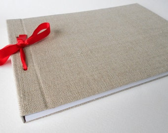 Refillable fabric sketchbook journal with 200 pages-A3, A4, A5, A6  hardcover journal, personilized refillable journal with ribbon binding