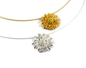 Sunflower Sterling Silver or Gold Plated Pendant Handcrafted Jewelry Lost Wax Technique Summer Necklace Fresh Design Perfect Flower Gift Her