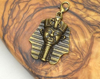 Ancient Egyptian Pharaoh Charm, Kemetic Purse Fob and Midori Charm for Travelers Notebook, Fauxdori, Clothing, and More