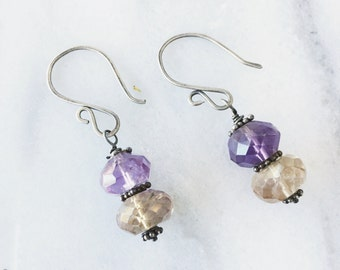 bali sunrise earrings. purple and yellow ametrine gemstones on hand forged sterling silver