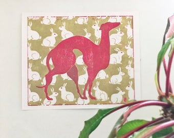 "12x15in poster""Virgin and Rabbit""-greyhound-dog poster-print-printmakeing-dog art-woodcut-lino cut-rabbit-poster-fineart-pattern-dogs gift-"