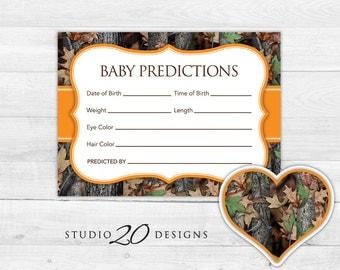 Instant Download Orange Camo Prediction for Baby Cards, Printable Baby BoyCamo Predictions, Realistic Hunters Camo Baby Shower Games 31E