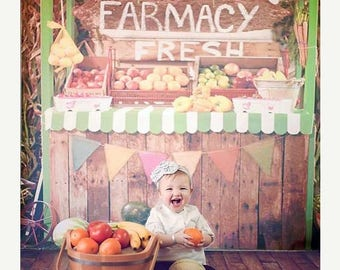 4ft x 4ft Produce Stand Backdrop - Farm Fresh Fruit and Vegetable Stand Photography Backdrop - Vinyl or Poly - Item 1912