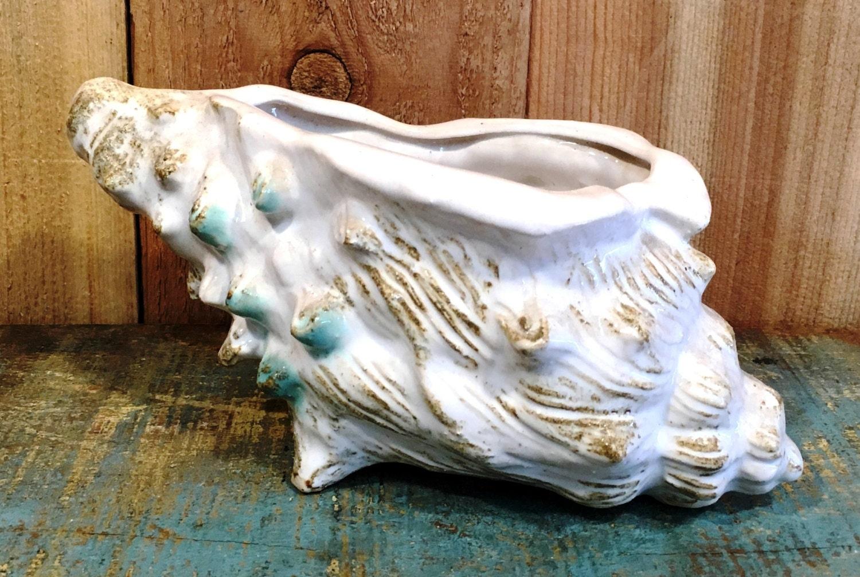 Vintage Napco Ceramic Conch Shell Planter