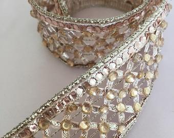 Rose Gold  Rhinestone Trim for DIY Wedding, Veil, Wedding dress, Wedding Supplies.