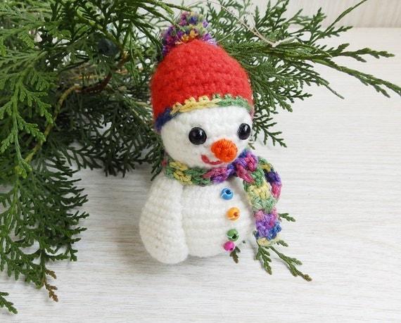 Stuffed Crochet Snowman Amigurumi Christmas Ornament Tree