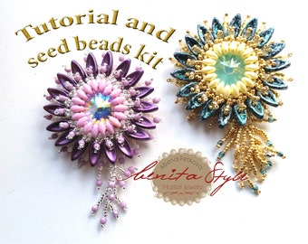 Tutorial KIt Beads Pendant, Tutorial and Kit Beadwork Necklace Chilli Beads, Beaded Tutorial Kit, Bead Jewelry Super Duo Chilli Beads EN