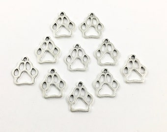 10 dog paw charms antique silver ,20mm # CH 182
