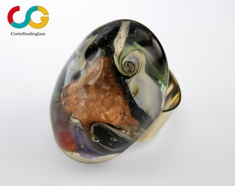 Murano glass ring-Lampwork ring-Universo collection- adjustable setting- exclusive creation by CSG