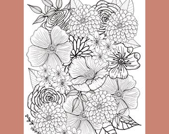 Flower Coloring Page, Floral Coloring Page, Adult Coloring Page, Coloring Page, Coloring Printable