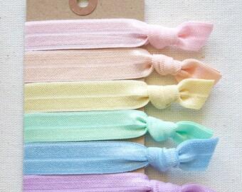 PASTEL Elastic Hair Ties, Ponytail Holders, Stretchy Ribbon Hair Ties, Elastic Hair Accessories, Yoga Hair Ties, Boho