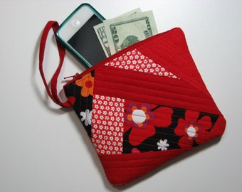 Quilted Zippered Wristlet Clutch, Cell Phone Pouch, Modern Red and Black Patchwork Handmade Purse, Quiltsy Handmade
