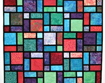 Modern Quilted Wall Hanging, Fabric Stained Glass Art Quilt, Batik Quilt, Quiltsy Handmade