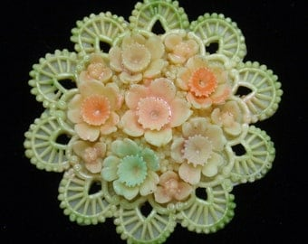 Pastel Plastic Floral Brooch Pin
