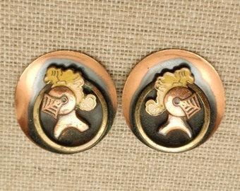 Knight's Helmet Copper Earrings Vintage