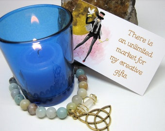 Creativity Manifesting Kit - Candle, Bracelet, Affirmation Cards, Creativity Spell