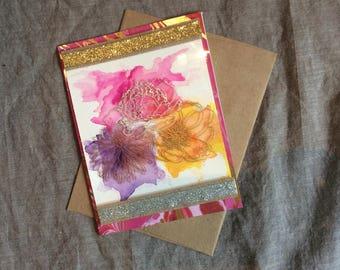 Watercolor Flower Trio blank card