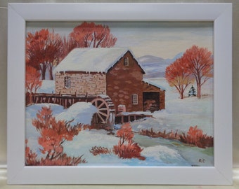 Framed Rita Clause 1986 Home & Watermill Winter Landscape Oil Painting on Panel