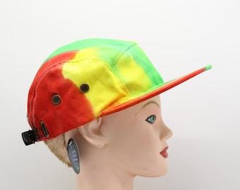 Tie Dye Hat, Rasta 5 Panel Snap Back, Trippy Hat, Jamaican Colors Flat Brim