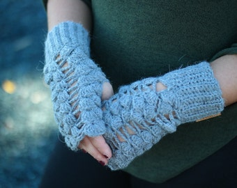 Fingerless gloves crochet-wrist warmers-mitts-unique fingerless gloves- crochet mittens- arm warmers- computer gloves