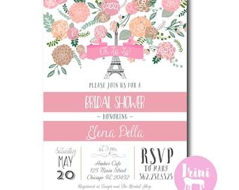 French bridal party invitation // paris bridal shower invite // vintage french bridal shower invitation // vintage floral bridal shower
