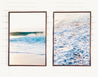 Big Waves Crashing / Ocean Photography / Hawaii Surf Art Print / White Wash Wave Oahu Island Beach Water Minimal / Set of 2 Portrait Sunset