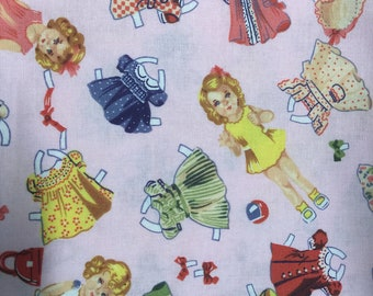 Pink paper doll fabric