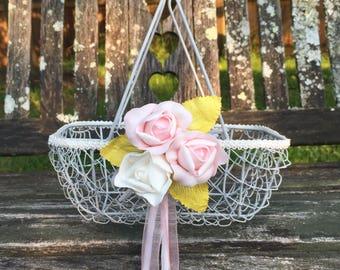 Gray Wedding Flower Girl Basket / Garden Wedding / Shabby Chic Flower Girl Dress / Country Barn Wedding Decor / Vintage Wedding