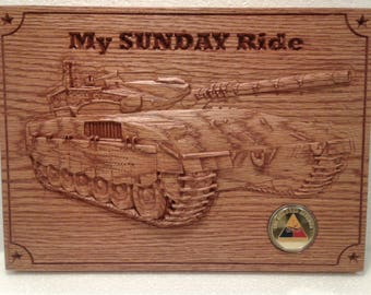 Army Tank Wall Plaque, Carved Oak with Challenge Coin