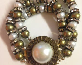 Freshwater pearls  bracelet with authentic designer button,  handmade