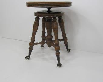 Piano stool, Wood Piano Stool, Antique Glass feet