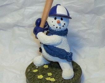 "Always Cool ""Batter Up"" Baseball Snowman Figurine Papel Giftware # 54536"