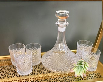 Vintage Midcentury Clear Glass Liquor Decanter With Five Matching Glasses, Vintage Barware
