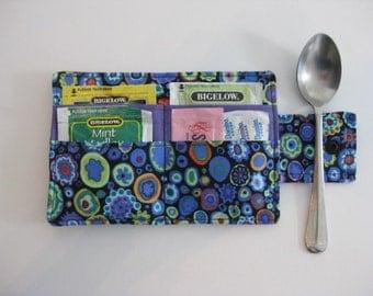 Handmade Tea Wallet, Tea Carrier, Blue Tea  Wallet