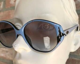 Oversize  woman sunglasses, Christian Dior Vintage 90's, pre-loved, blue carved black, ink effect decor, pop art