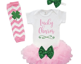 Baby First St. Patrick's Day Outfit Lucky Charm Baby Girl St. Patrick's Day Baby Girl Outfit 1st St. Patrick's Day Outfit for Baby Girl 004