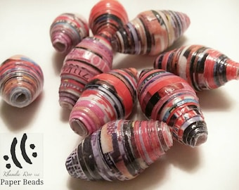 8pcs Paper Beads 1 inch bicones  multi colored recycled  magazine Paper with Pink and red undertones