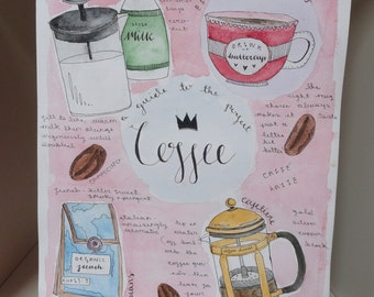 original watercolour for coffee lovers