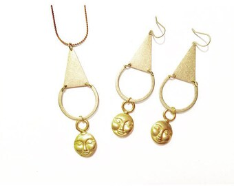 Woman on the Moon Necklace with Gold Moon Charm and Brass Triangle and Crescent
