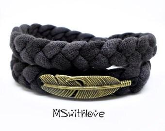Braided Fabric Bracelet, Bohemian feather Bracelet, Wrap Bracelet, Gray Bracelet, Feather Jewelry, Handmade Fabric Bracelet, Boho bracelet