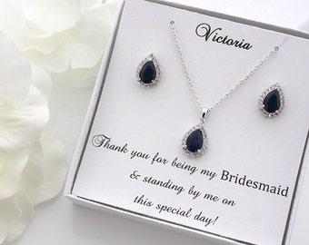 Adrienne - Personalized Sapphire Blue Wedding Jewelry SET,  Bridal Necklace + Earrings, Bridal Teardrop Set, Bridesmaid Gift Set