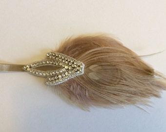 1920's Rhinestone headband, beige headband, rhinestone headpiece  beige feather fascinator crystal headpiece 1920s dresses, gatsby headpiece