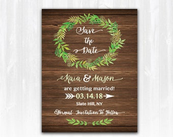 Wreath Save The Date Magnet or Card DIY PRINTABLE Digital File or Print (extra) Spring Save The Date Wood Save The Date Rustic Save The Date