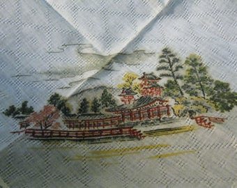 Printed Hankerchief Featuring Asian Temple/Palace