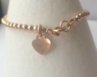 Rose Gold Heart Charm Bracelet, Gold Filled Bead Bracelet, Rose Gold Ball Bracelet, Rose Gold Jewellery Gift, Minimalist Gold Bracelet