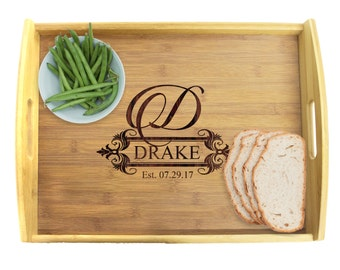 Personalized Wedding Gift, Wood Tray, Personalized Tray, Personalized Platter, Housewarming Gift, Ottoman Tray, Serving Platter Tray