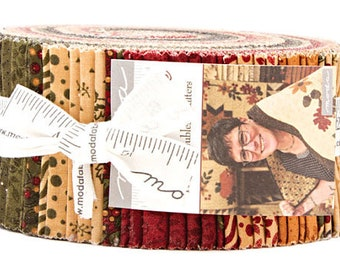 """Last one! Moda Fabrics Gooseberry Lane by Kansas Troubles Jelly Roll 2.5"""" PreCut Quilting Cotton Strips Fabric Strips - Christmas"""