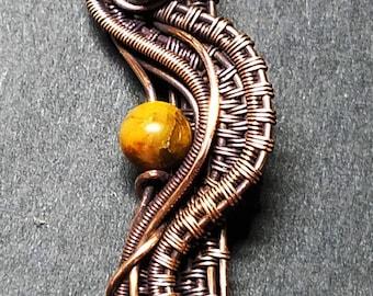 Multi-layer woven aged copper unique handmade pendant with Golden Pietersite bead accent