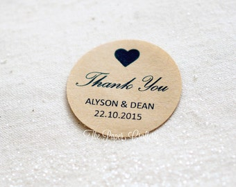 100 x Thank You Wedding Stickers Personalised Names & Date Kraft Brown Round