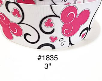 """2/3/5 yard - 3"""" Pink Minnie Mouse with Black Swirl on White Jumbo Grosgrain Ribbon Craft Supply"""